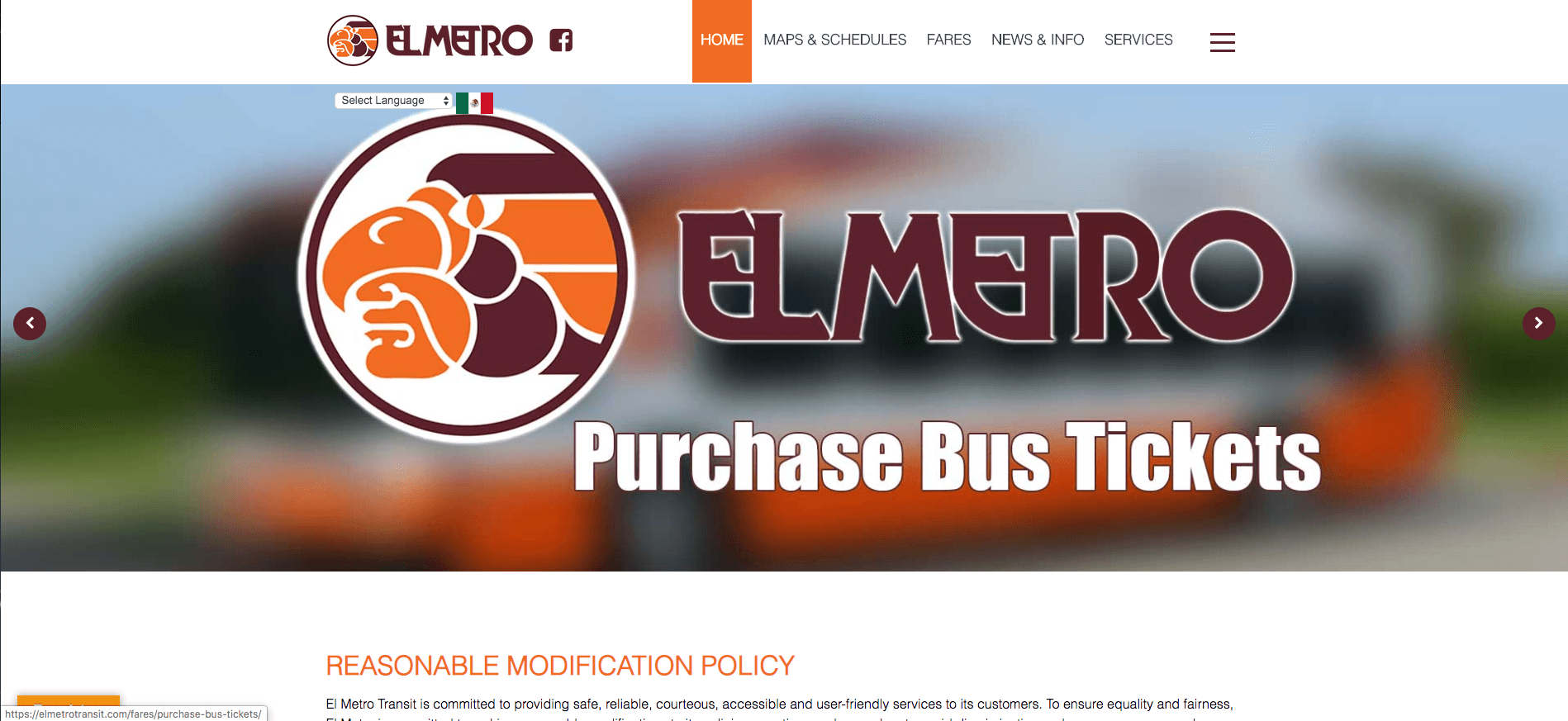El Metro Website